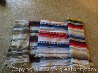Lot of South Western Style Blankets (4 Blankets- All in Great Condition)