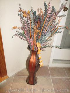 Large Decorative Metal Vase With Floral Arrangement