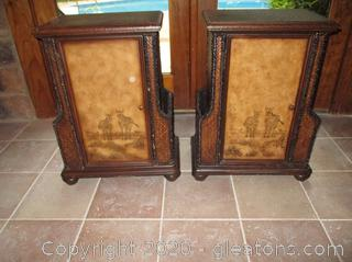 Set of 2 Beautiful Detailed Accent Tables