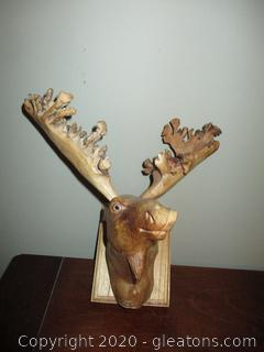 Outstanding Mounted Wood Carving of a Moose