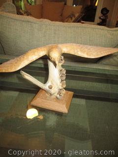 Fine Wood Carving of a Landing Eagle