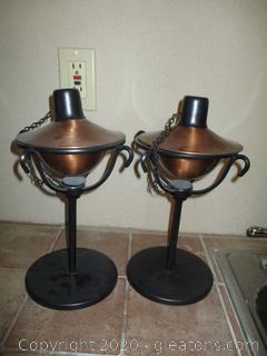 Pr. Of Small, Fillable Tiki Torches on Pedestal