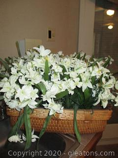 Wicker Basket Filled with Easter Lillies