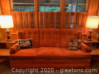 Vintage Tufted Velour Wingback Couch