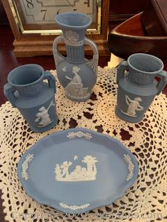 4 Piece Set of Wedgewood Blue Vases and a Dish