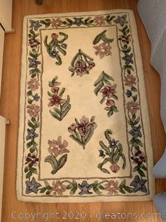 Hand Tufted Wool Floral Rug (A)