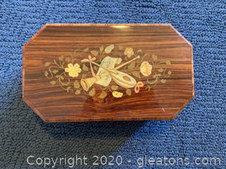 Italian Inlaid Wood Music Box with Jewelry Storage