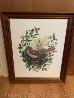 Georgia Symbols Print:  Capitol Dome, Brown Thrasher and Cherokee Rose