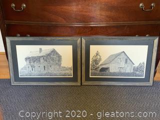 Pen + Ink Print of Old Barn Scenes-Pair
