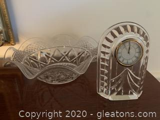 Waterford Crystal Overtune Small Clock and Pressed Glass Bowl