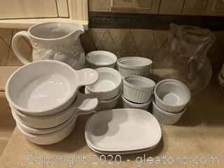 Corning Ware Lot and a Bonus Libbey Pitcher
