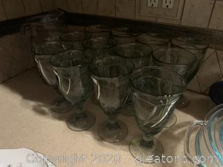 Set of 12 Green Goblets and a Clear Pitchers