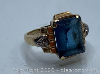 14k Lab Created Gemstone And Diamond Ring