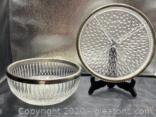 Crystal Bowl W/Silver Plate Rim & Serving Dish