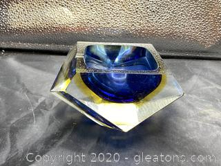 Yellow & Blue Murano Glass Ashtray