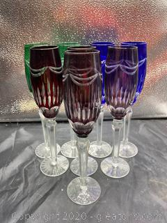 Colored Glass Champagne Flutes