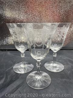 Etched Glass Water Goblet Set