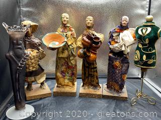 Collection of Paper Mache Figurines & Decorative Statues
