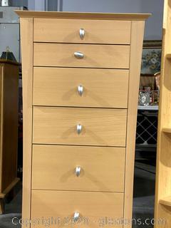 Blonde Teak Veneer Tall Dresser/Nightstand