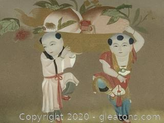 Contemporary Painting of Boys Carrying Lucky Chinese Peach