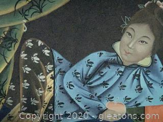 Portrait of Reclining Woman Holding Lucky Peach