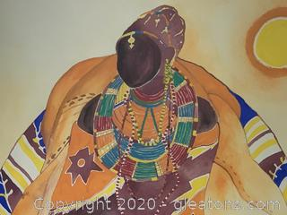 Figurative African Watercolor Portrait (1994)