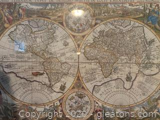 Antique Map of The World 1594 Graphic Art on Canvas