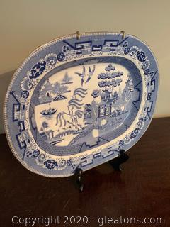 Antique Willow Pattern Meat Platter