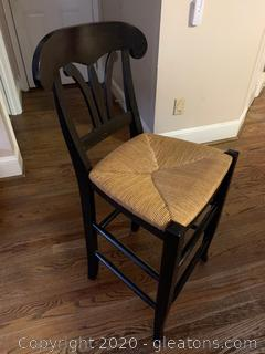 Italian Wooden Bar Chair with Wicker Seat