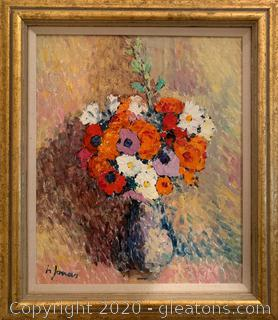 Original Flower Still Life Painting by H. Jonas