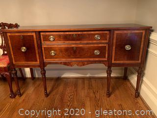 Antique Burl Mahogany Sideboard