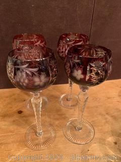 Colored Fruit Etched Crystal Cordial Glasses