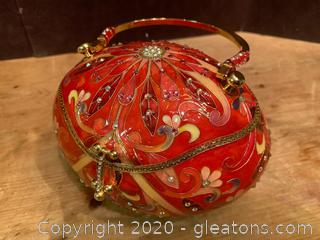 Velvetine Lined Faberge Egg Glass Purse