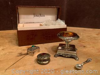 Godinger Tasting Dishes and Antique Snuff Boxes