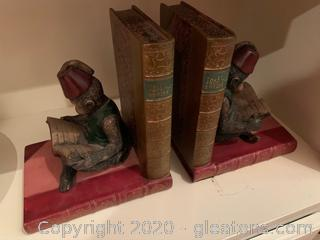 Reading Monkey In Fez Hat Bookends