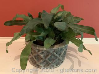 Lattice Stone Table Top Potted Faux Plant