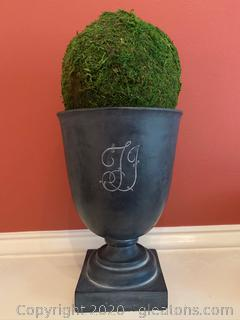 Decorative Monogrammed Moss Urn (Hen Feathers)