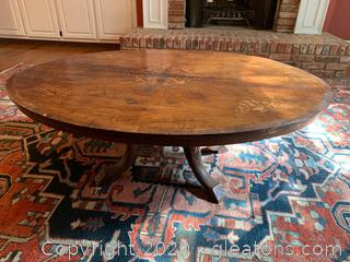 Antique Inlayed Coffee Table with Hand Carved Chevron Detailing On Legs