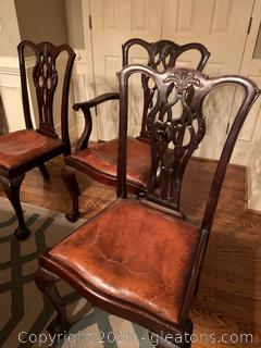 Mahogany Ball and Claw Dining Chairs with Leather Seats