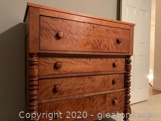 Antique Burl Wood Dresser With Ballaster Detailing