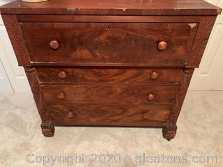 Antique Rolling Burl Wood Mahogany Chest Of Drawers