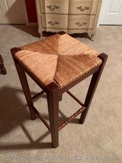 Walnut Backless Stool With Wicker Seat