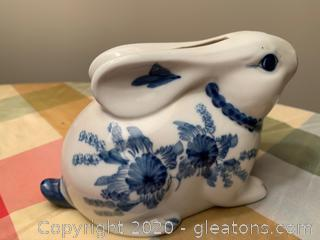 Porcelain Delkt Bunny Piggy Bank