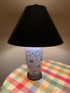 Oversized Print Delft Porcelain Table Lamp