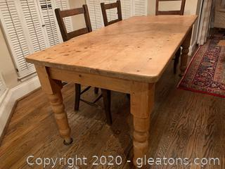 Rustic Light Wood Factory Distressed Dining Table