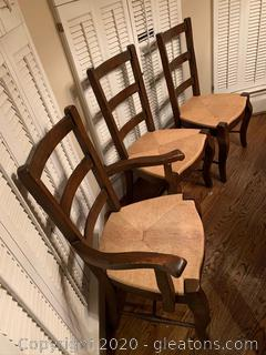 Wood and Wicker Factory Distressed Dining Chairs