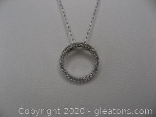 14K Diamond Circle Necklace