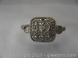 Sterling Silver Ring W CZ's Size 6½  Stamped 925