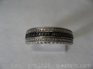 Nice Sterling Silver Band W Diamonds