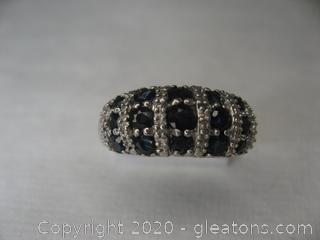 Sterling Silver Ring W Sapphires, Size 6¾ Stamped 925